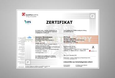 IFS Zertifikat Gasteiner